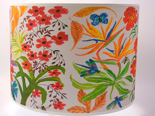 Bright flowers lampshade grey