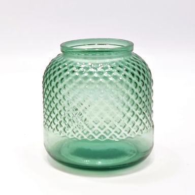 """Recycled Glass Vase     19cm """"Diamond"""" Vase     Tea light Holder"""