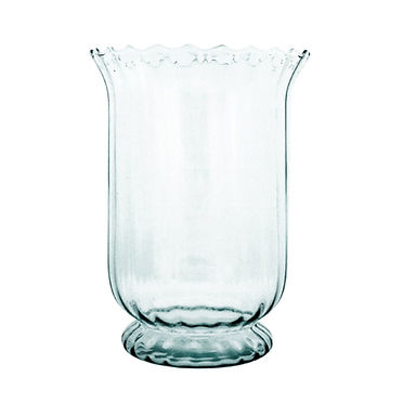 Recycled Glass Tall Fluted Vase / Hurricane     Clear