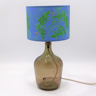 Recycled Glass Demijohn Table Lamp with Choice of Flex | 36cm Smoke Grey
