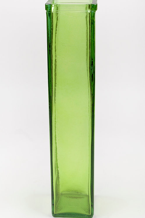 45CM RECYCLED GLASS SQUARE VASE GREEN