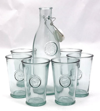 Recycled Glass Drinks Set | Bottle or Carafe with 6 Glasses