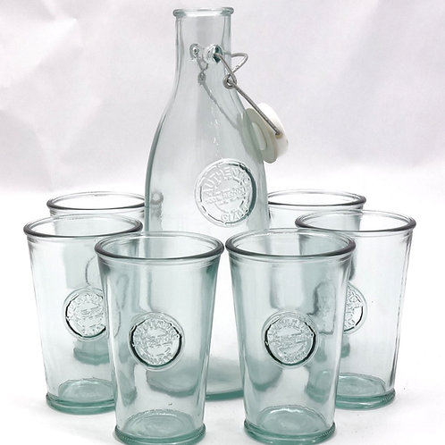 Recycled glass summer drinks set authentic bottle