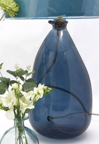 Recycled Glass Table Lamp | 42cm Petrol Blue  | Blown Glass