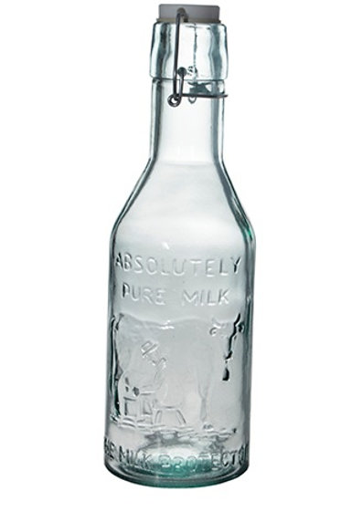 Recycled glass 1l milk bottle with clip top