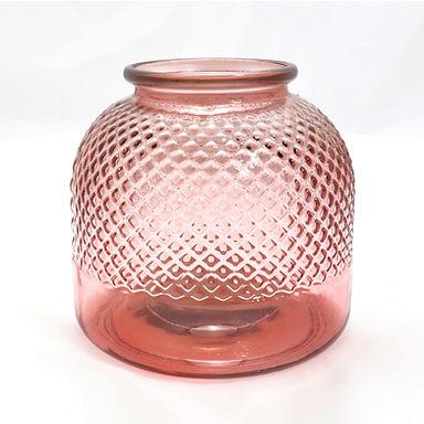 "Recycled Glass Vase  |  24cm ""Diamond""  |  Hurricane Lamp"