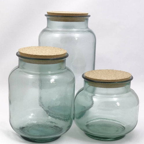 Recycled glass hurricane storage jar collection