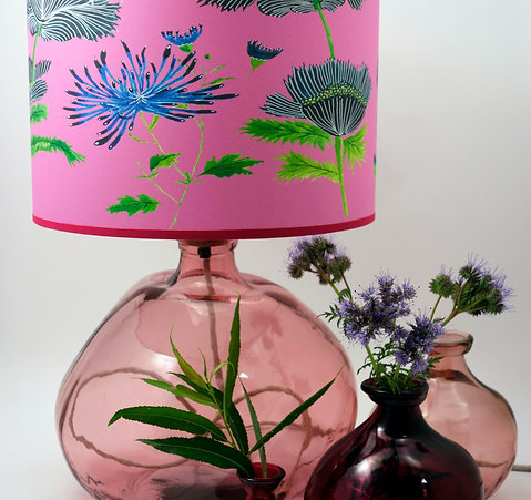 39cm Simplicity Recycled Glass Lamp Pink