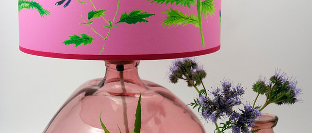 Recycled Glass Table Lamp | 39cm Pink | Blown Glass