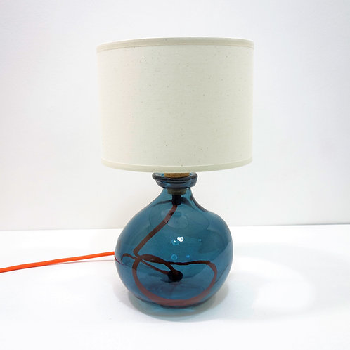 Recycled Blown Glass Table Lamp with Choice of Flex | 24cm Petrol Blue