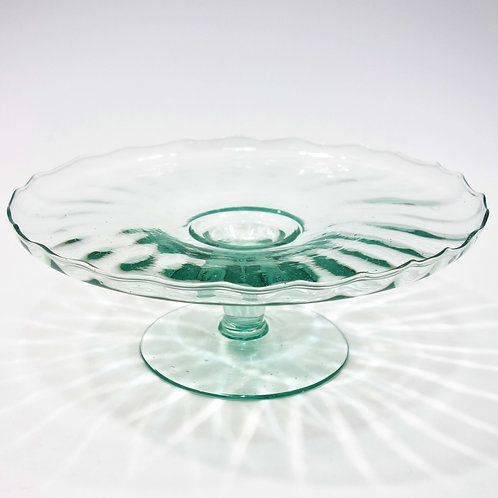 Recycled Glass Fluted Cake Stand   Clear   Fruit Dessert
