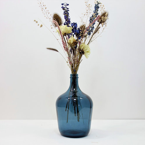 Dried Flower Bouquet in Recycled Glass Vase | Blue Vase | Blue Flower M