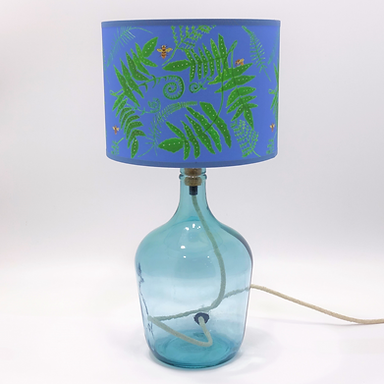 Recycled Glass Demijohn Table Lamp with Choice of Flex | 36cm Light Blue