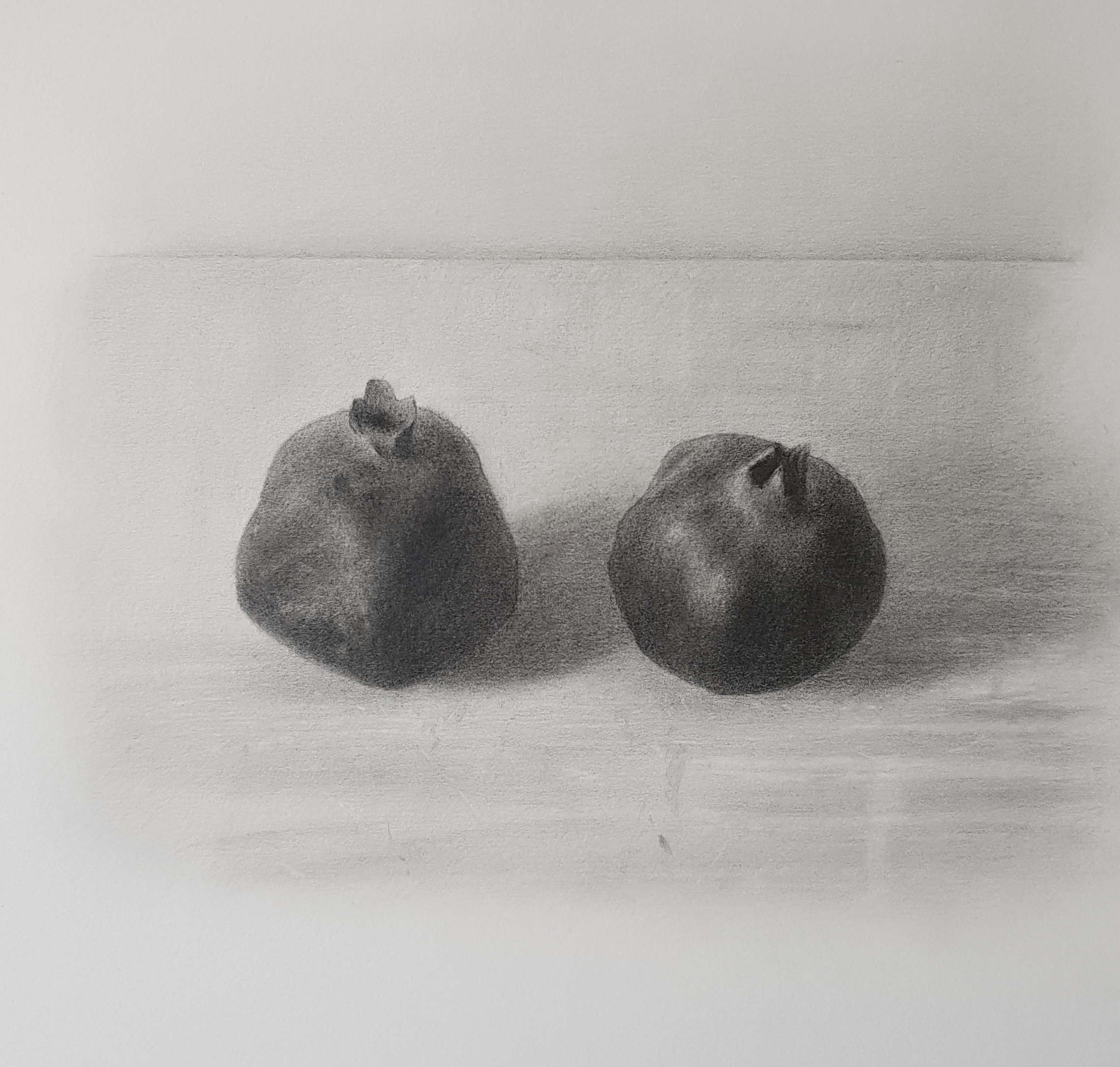 Black pomegranates, pencil on paper, 2020