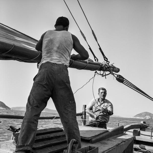Hauling in the Eleftheria mainsail