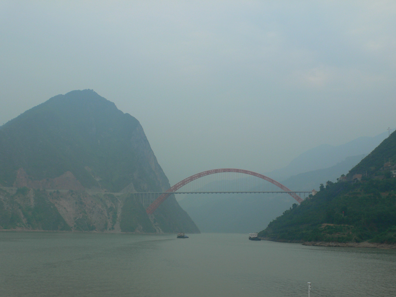 The Red Bridge at Wushan, striking for its architecture.