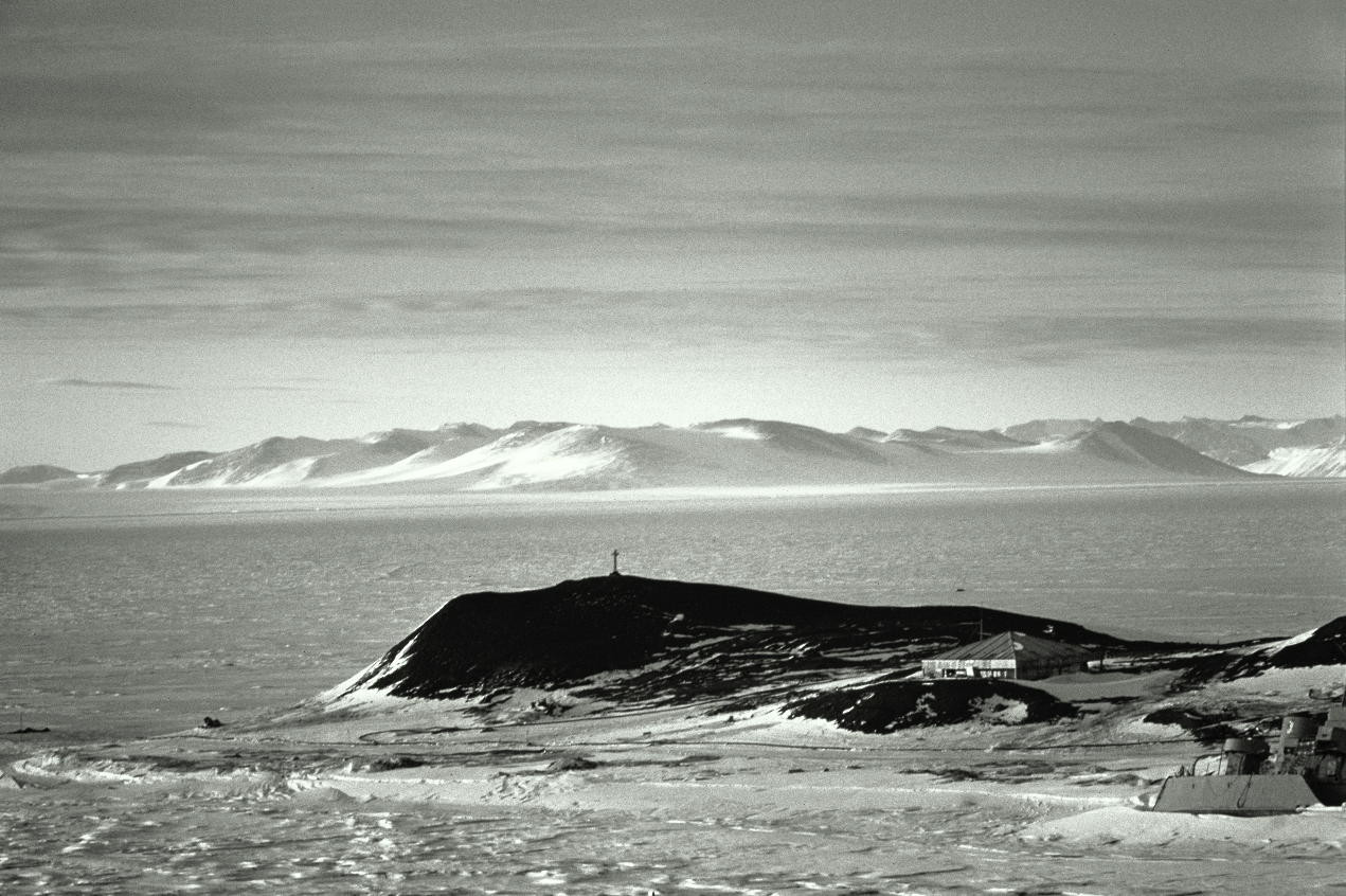Hut Point on a clear Antarctic day.