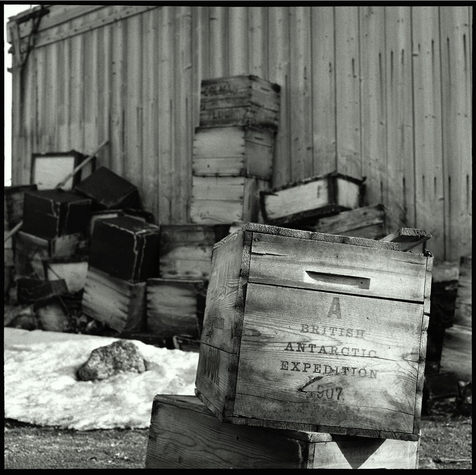 A perfectly preserved wooden crate for provisions from the 1907 British expedition.