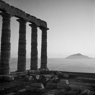 Temple of Poseidon at dusk
