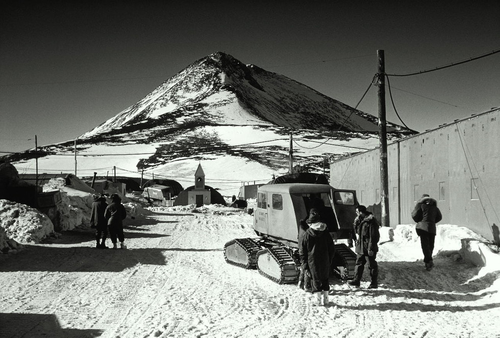 """""""Main Street"""" at the McMurdo Base and Observation Hill."""
