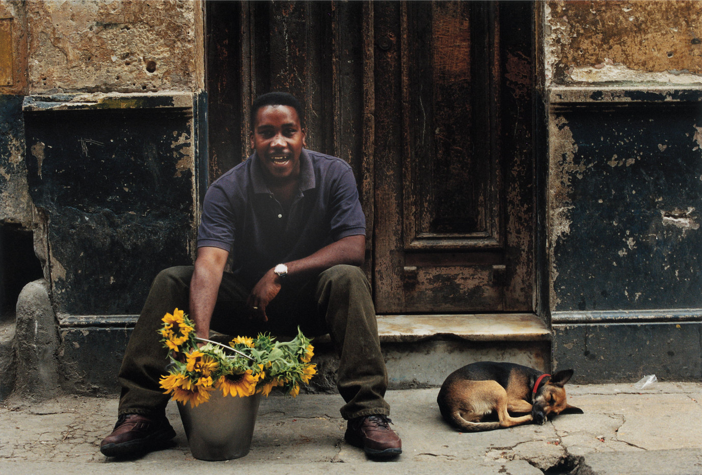 The florist and his dog.
