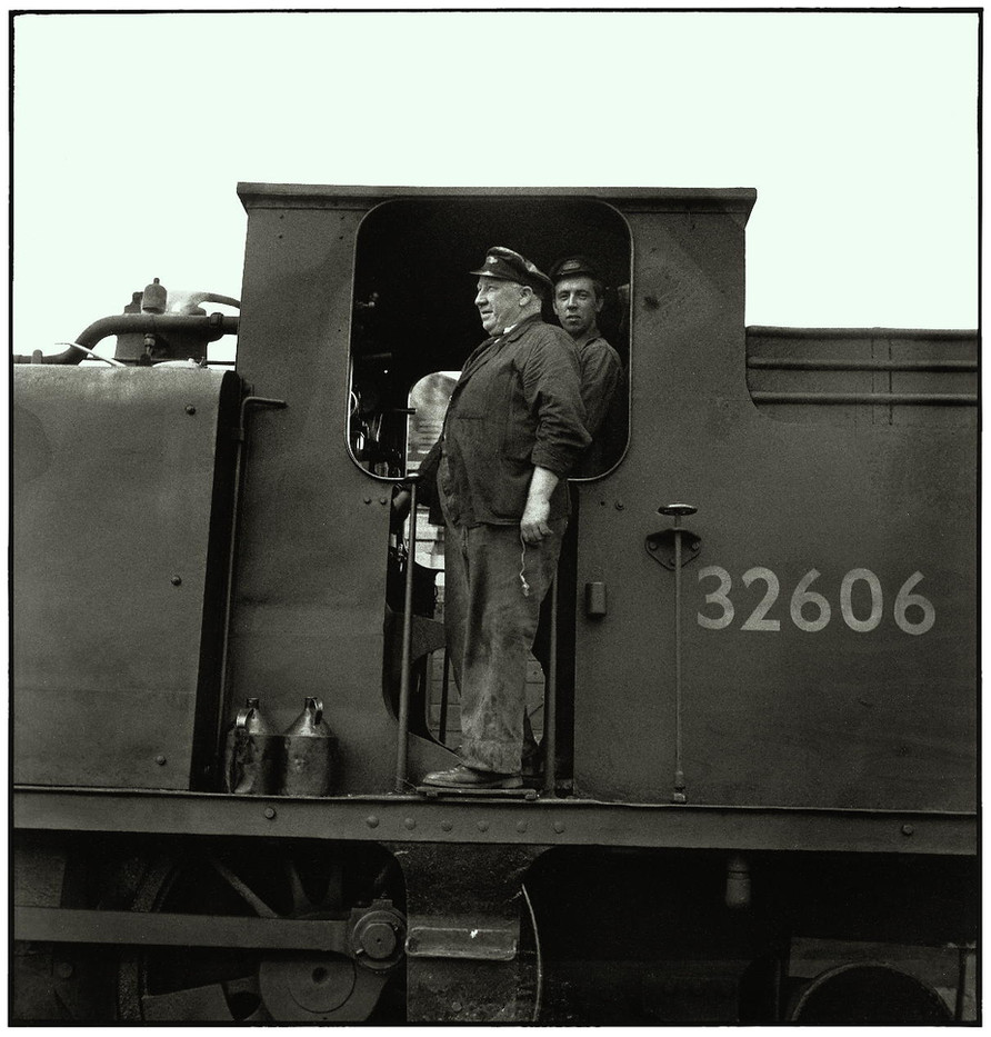The engineer and fireman of a switching locomotive on the docks of Southampton.