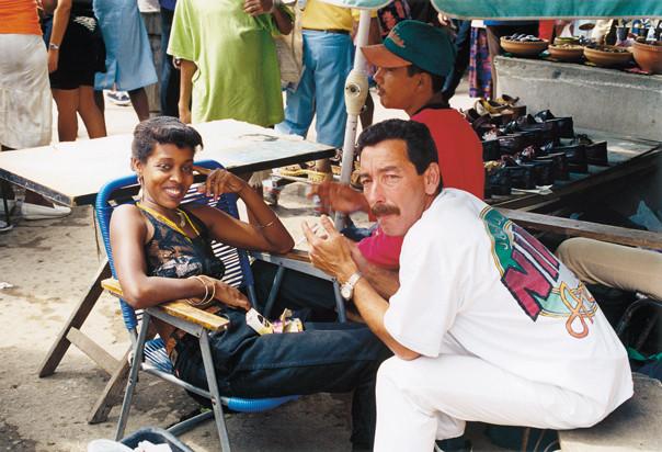 A couple at the street bazaar.