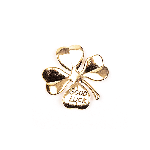 "Gold Metallkleeblatt ""Good Luck"""