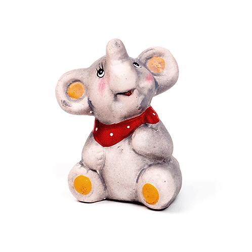 Elefant mit Halstuch, 7cm, aus Ton