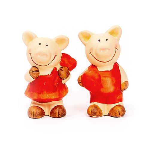 Schweinchen in Rot, 7cm, aus Ton