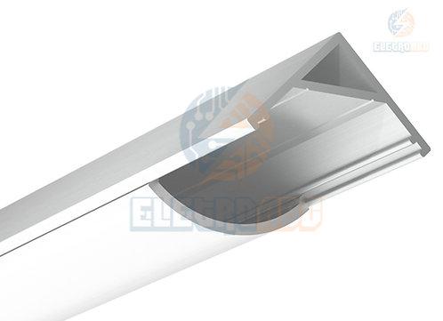 Perfil Aluminio p/Fita LED Canto Leitoso 2M