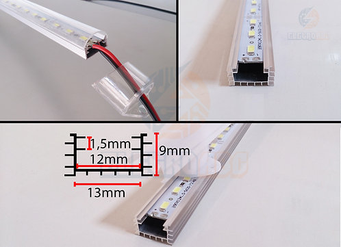 Perfil de  Aluminio Rugoso transparente P/LED