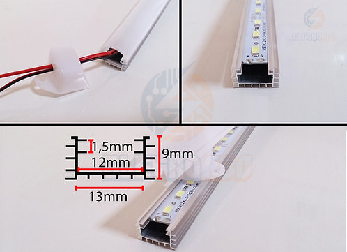Perfil de  Aluminio Rugoso Leitoso P/LED