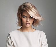 Blonde short hair model