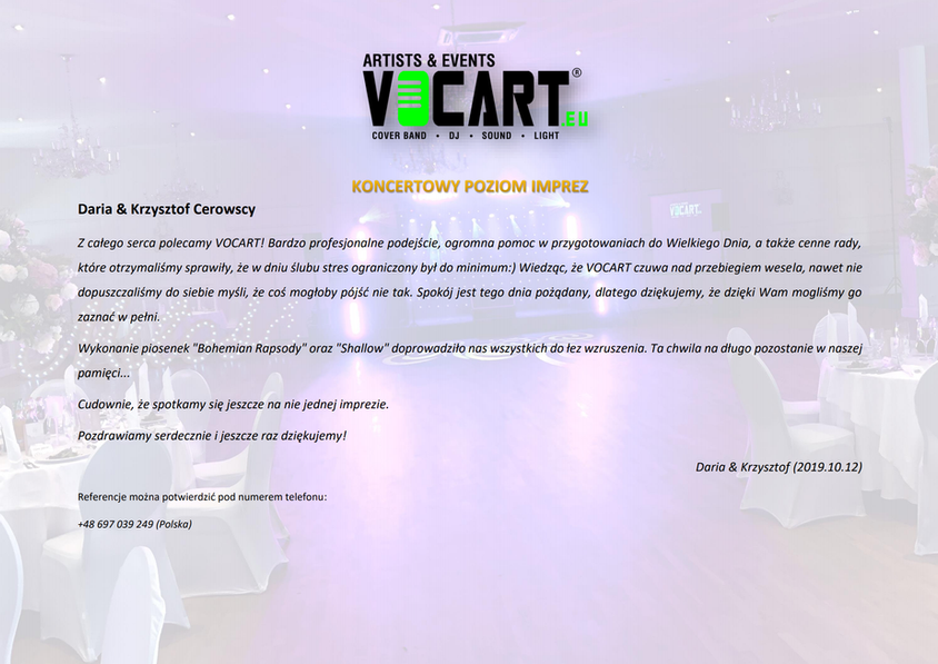 VOCART - Referencje - 2019.10.12 - Daria