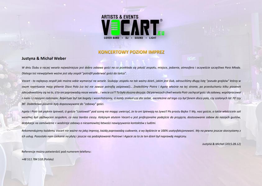 VOCART - Referencje - 2015.09.12 - Justy