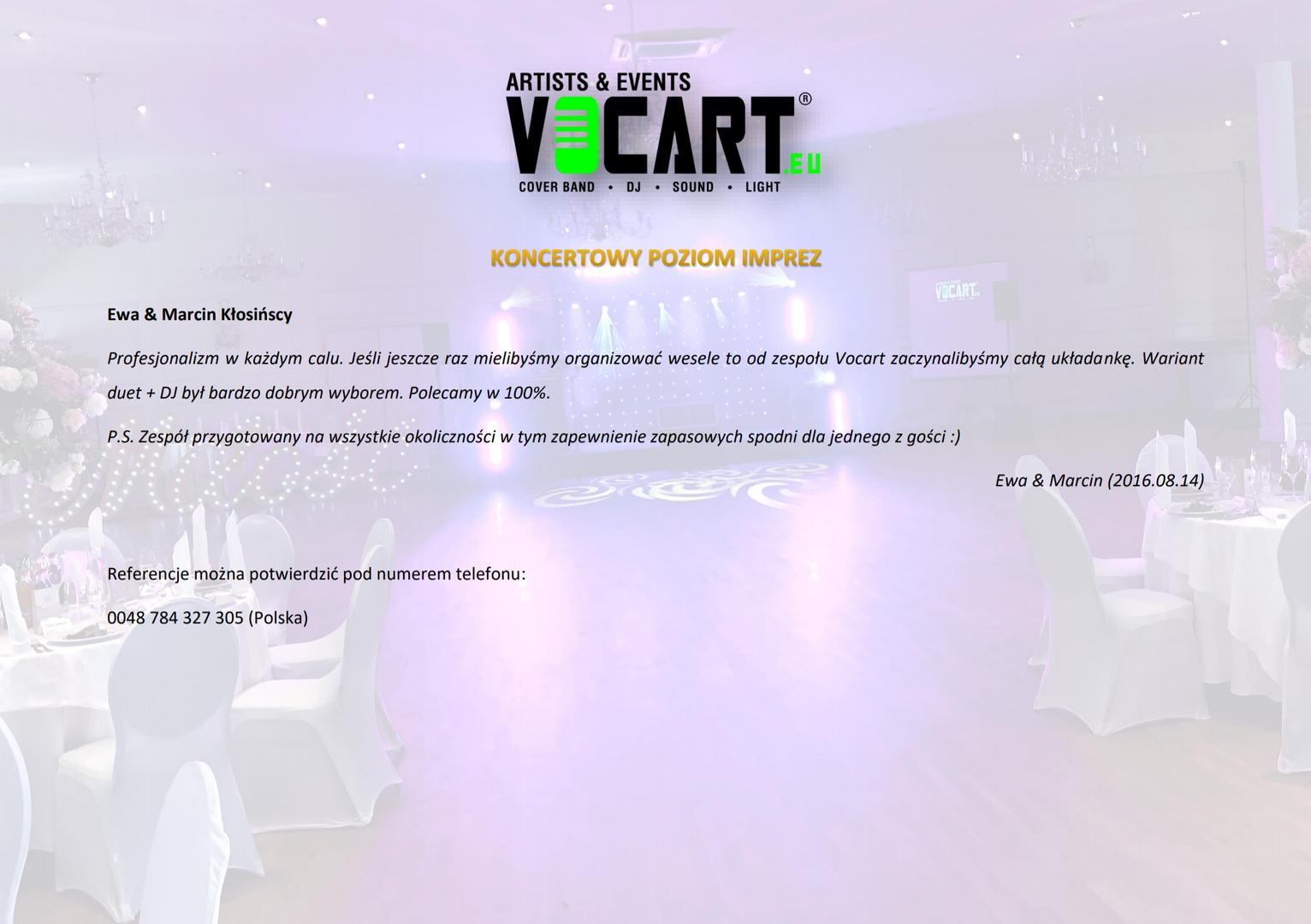 VOCART - Referencje - 2016.08.14 - Ewa &