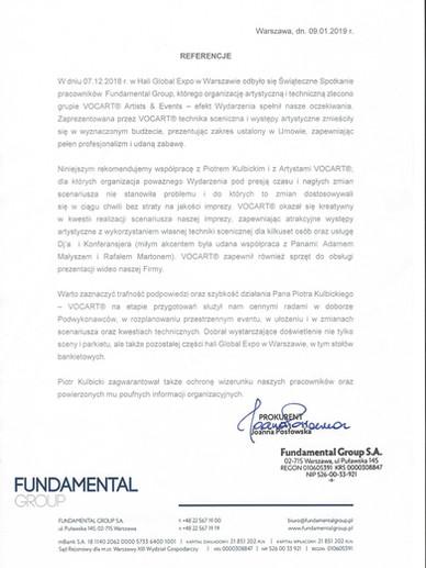 VOCART - Referencje - Fundamental Group.