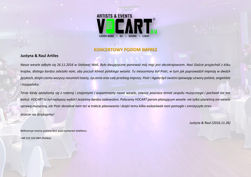 VOCART - Referencje - 2016.11.26 - Justy
