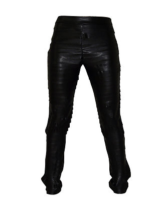 Faux Leather Pants Ribbed