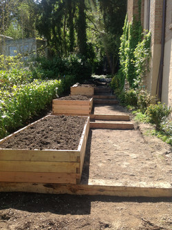 raised beds on stairs