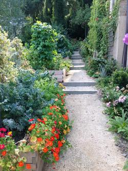 planted gravel path