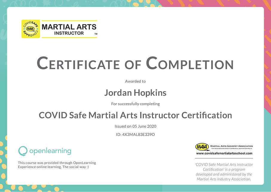 Jordan Hopkins COVID Safety Certificate.