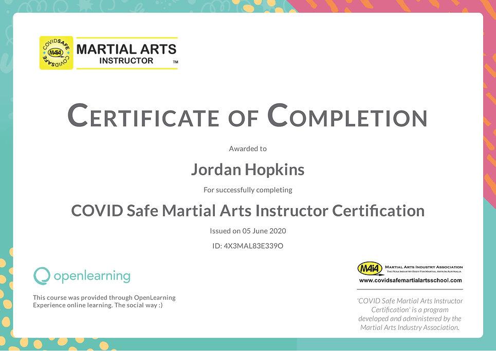 Jordan Hopkins COVID Safety Certificate.