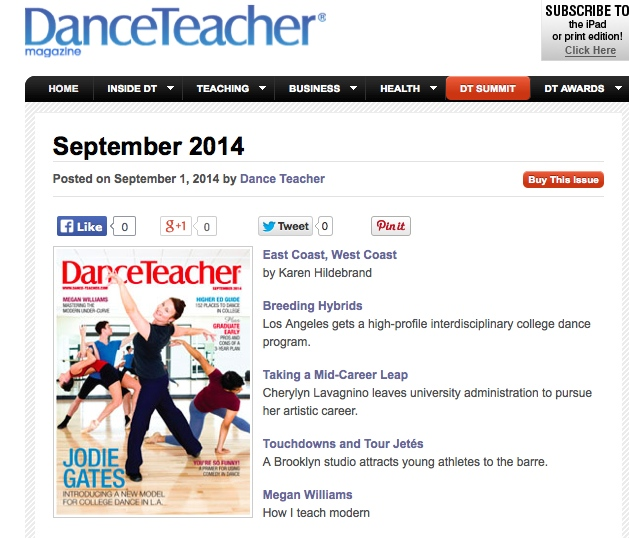 DANCE TEACHER MAG SEPT 2014 ONLINE COVER