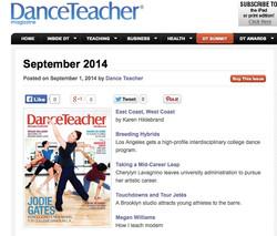 DANCE TEACHER MAG SEPT 2014 ONLINE COVER