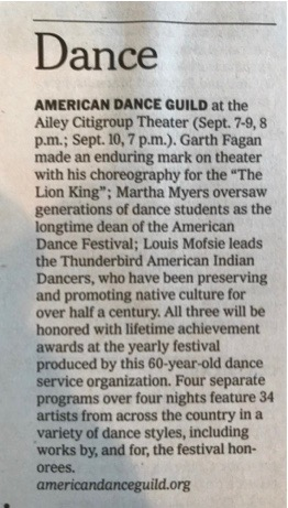 NY Times - American Dance Guild