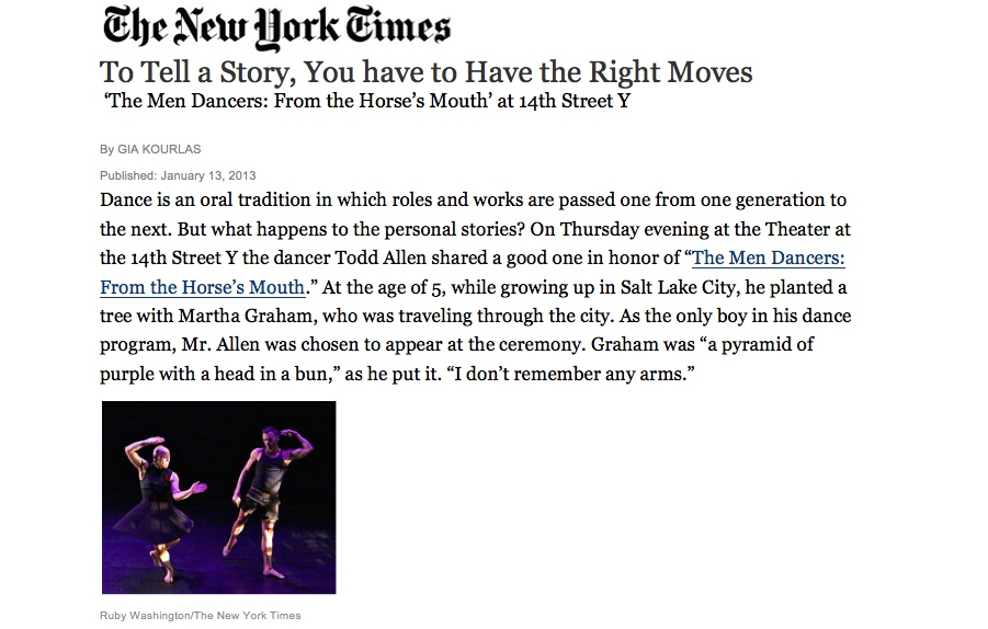 NY TIMES GIA KOURLAS reviews HORSES MOUTH- MEN DANCERS