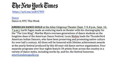 NY Times - Am. Dance Guild