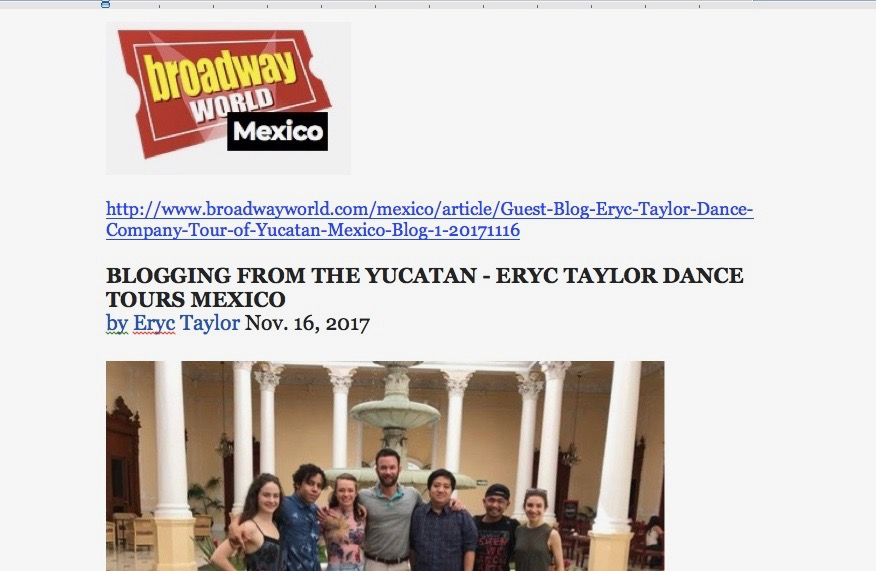 Eryc Taylor Dance Blogs from Mexico